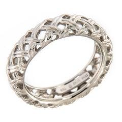 Jean Vitau White Gold Basket Weave Band Ring