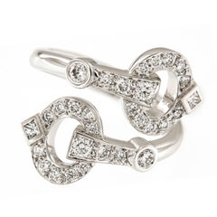 Gumuchian 18 Karat White Gold Diamond Gallop Collection Ring
