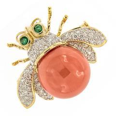 Coral Diamond Emerald Gold Bee Brooch