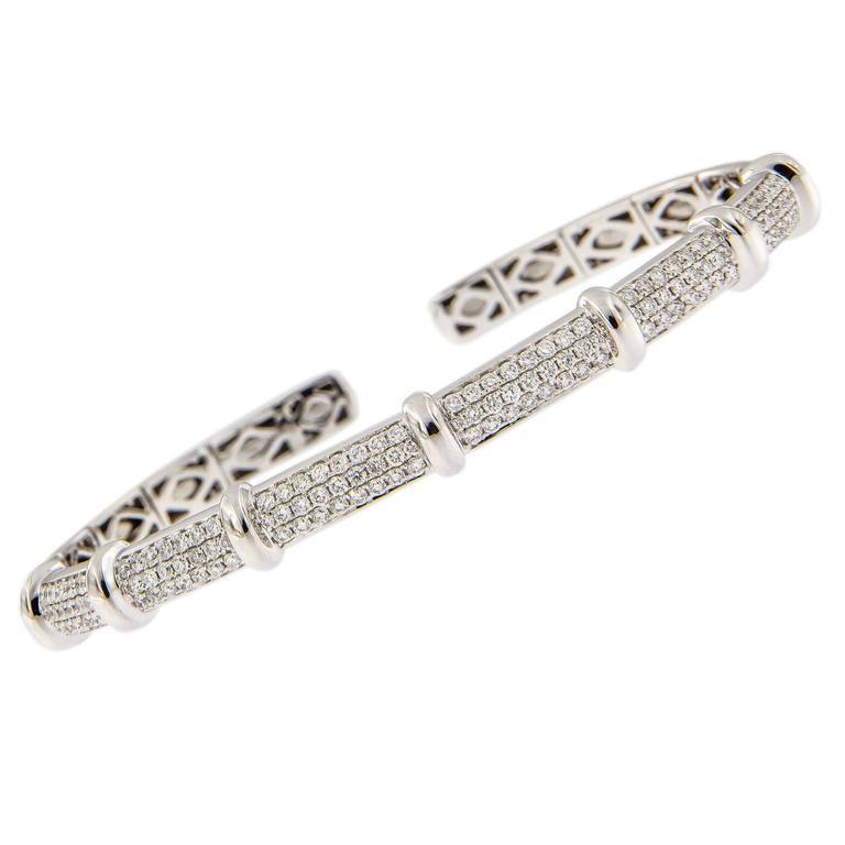 Diamond White Gold Stacking Bangle Bracelet