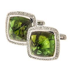 Unique Green Tourmaline Diamond Gold Cufflinks
