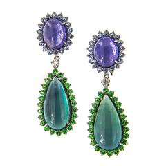Tanzanite Tourmaline Garnet Diamond Drop Earrings