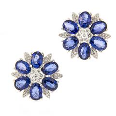 Sapphire Diamond Cluster Floral Earrings