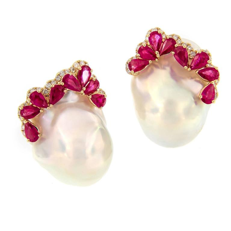 Baroque Pearl Ruby Diamond Earrings For