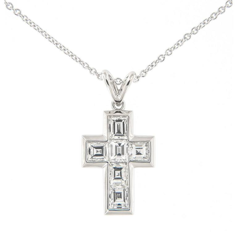 Campanelli & Pear Diamond Platinum Cross Pendant Necklace 1