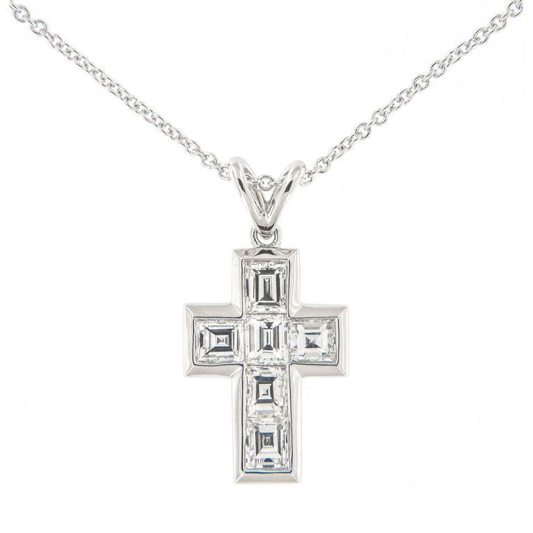Campanelli & Pear Diamond Platinum Cross Pendant Necklace For Sale