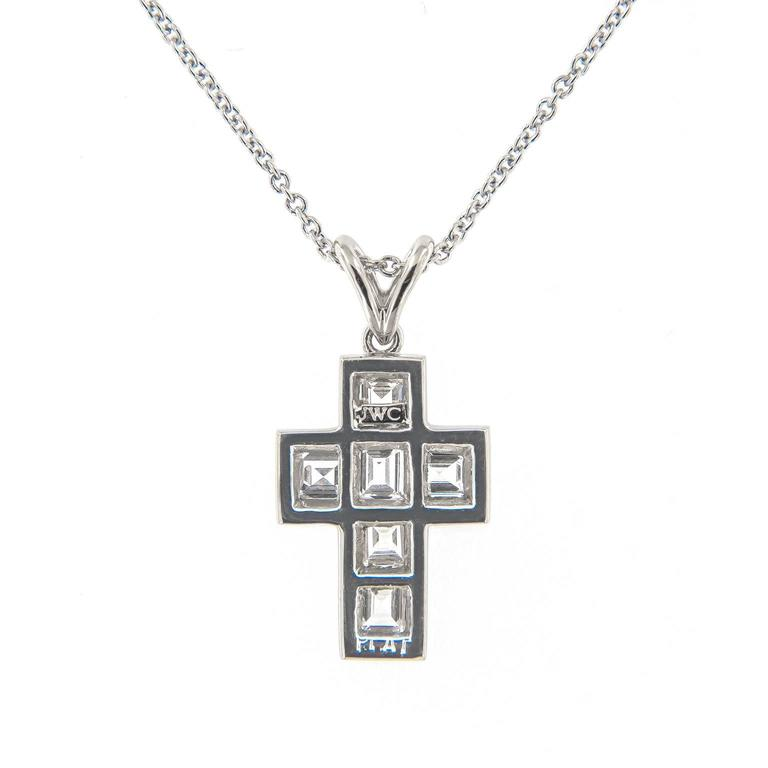 Campanelli & Pear Diamond Platinum Cross Pendant Necklace In As new Condition For Sale In Troy, MI