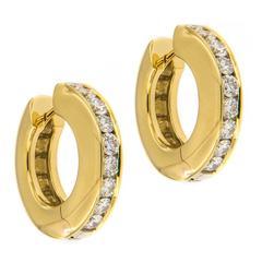 Diamond Hinged Huggie Gold Earrings