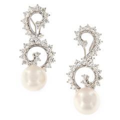 Angela Cummings Pearl Diamond Gold Dangle Swirl Earrings