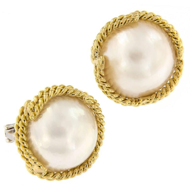 Mabe Pearl Gold Earrings