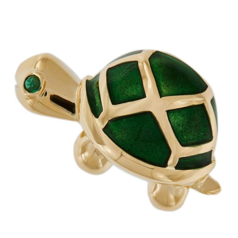 Enamel Emerald Gold Turtle Lapel Pin