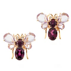 Amethyst Garnet Diamond Gold Bee Earrings