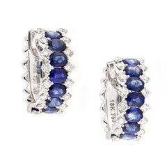 Sapphire Diamond Gold Hoop Earrings