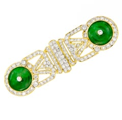 Jadeite Diamond Gold Brooch