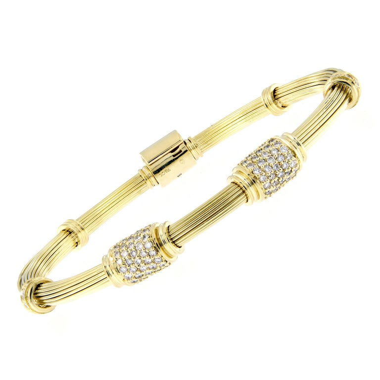 Elephant Hair Gold Diamond Bracelet For