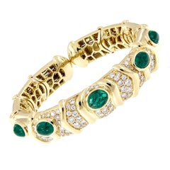 Italian Diamond Emerald Wide Flexible Gold Bracelet