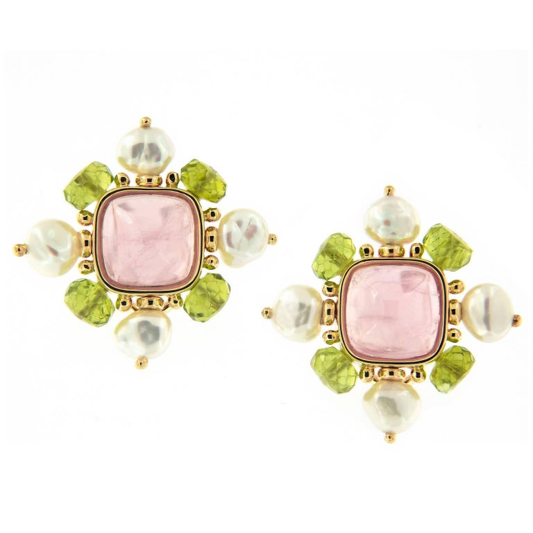 Trianon Pearl Quartz Peridot Gold Earrings For Sale
