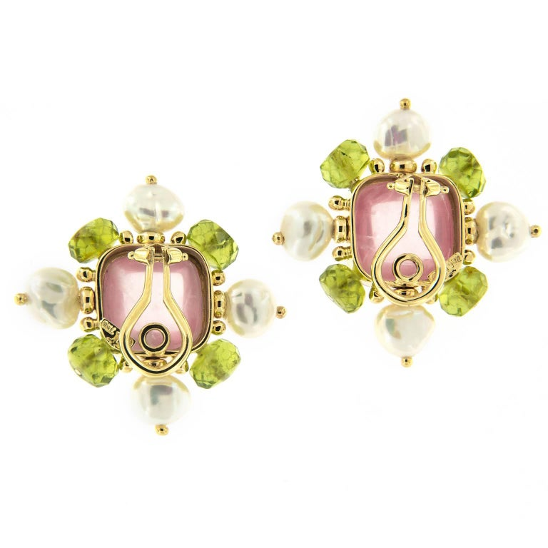Trianon Pearl Quartz Peridot Gold Earrings In Excellent Condition For Sale In Troy, MI