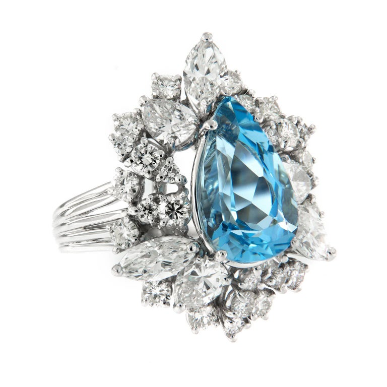 Aquamarine Diamond Platinum Cocktail Ring For Sale