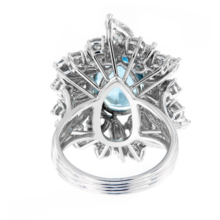 Women's Aquamarine Diamond Platinum Cocktail Ring For Sale