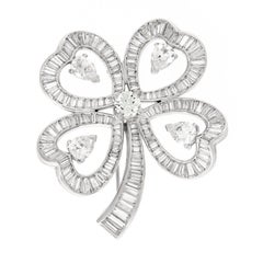 Diamond Platinum Colver Pendant Brooch