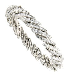 Eternity Round & Baguette Diamond Platinum Tennis Bracelet