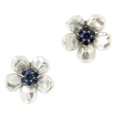 "Seaman Schepps Pearl Sapphire ""Biwa Flower"" Earrings"