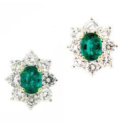Emerald Diamond Cluster Platinum Earrings