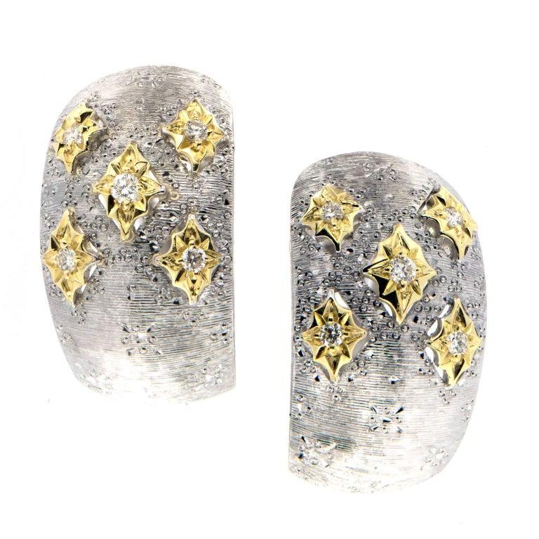 Italian Gold Diamond Hoop Earrings