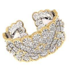 Italian Gold Diamond Wide Hinged Cuff Bracelet