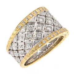 Italian Gold Diamond Wide Band Ring