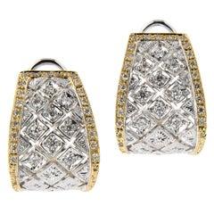 Italian Gold Diamond Wide Hoop Earrings