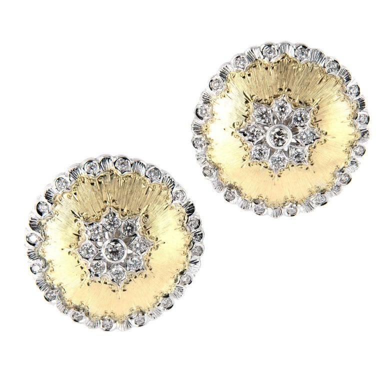 Italian Gold Diamond Button Earrings