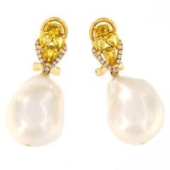 Baroque Pearl Sapphire Diamond Gold Drop Earrings
