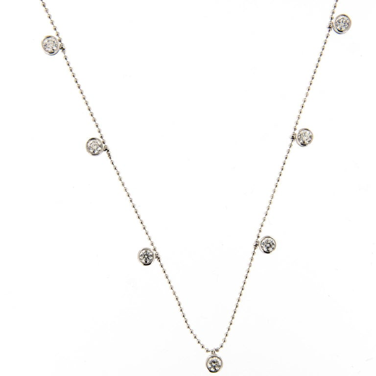 Bezel Set Diamond Adjustable Gold Necklace