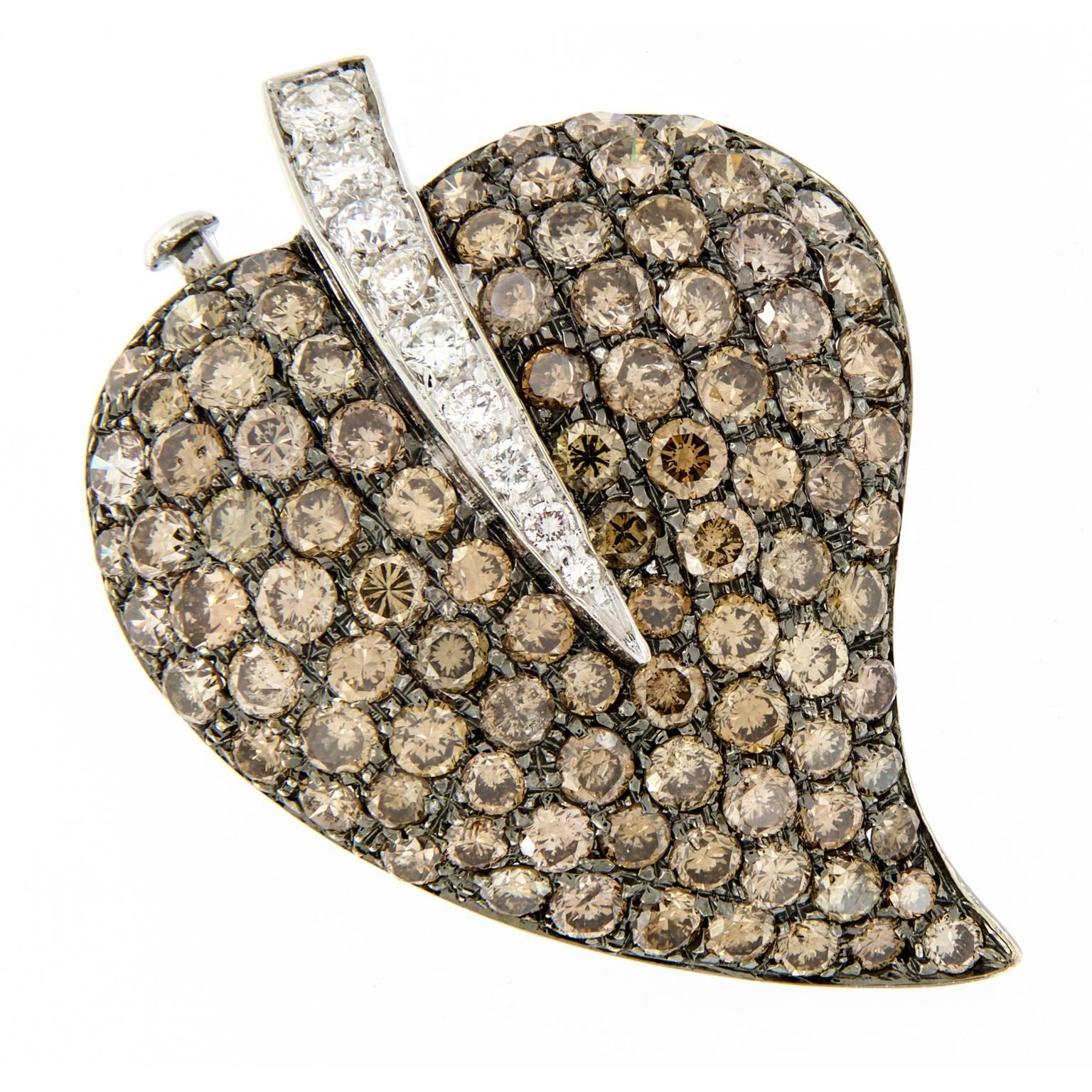 Chocolate Brown Diamond 18 Karat White Gold Leaf Brooch