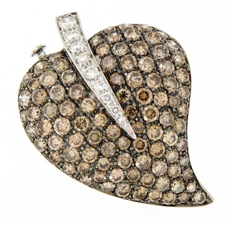 Diamond Gold Leaf Brooch