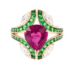 Ruby Tsavorite Diamond Cocktail Ring