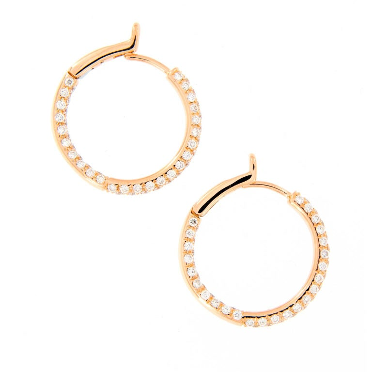 Diamond Rose Gold Hoop Earrings