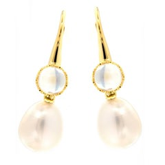 Assael Moonstone South Sea Pearl Drop Earrings