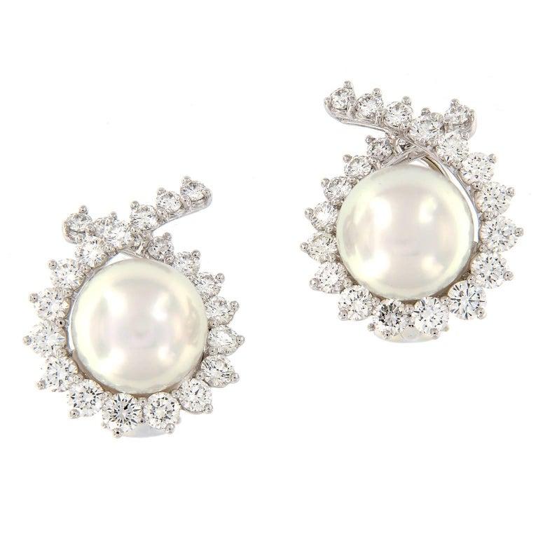 Angela Cummings South Sea Pearl Diamond Earrings