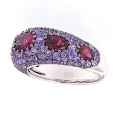 Violet Sapphire Pink Tourmaline Dome Ring