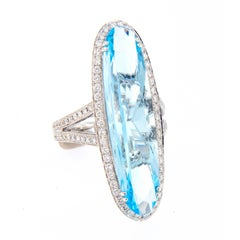 Blue Topaz Diamond Cocktail Ring