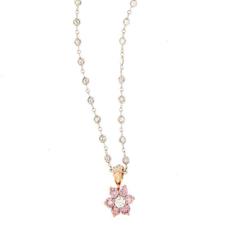 Alan Friedman Pink Diamond Cluster Pendant Gold Platinum Necklace