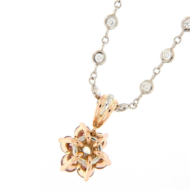 Alan Friedman Pink Diamond Cluster Pendant Gold Platinum Necklace In Excellent Condition For Sale In Troy, MI
