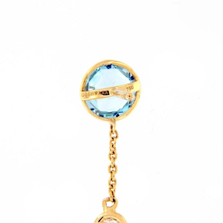 Goshwara Blue Topaz Diamond Dangle Drop Earrings In As New Condition For Sale In Troy, MI
