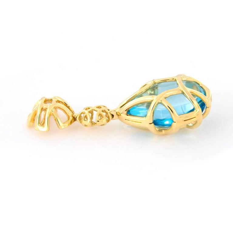 Goshwara Freedom Blue Topaz Tear Drop Cage Earrings In New Condition For Sale In Troy, MI