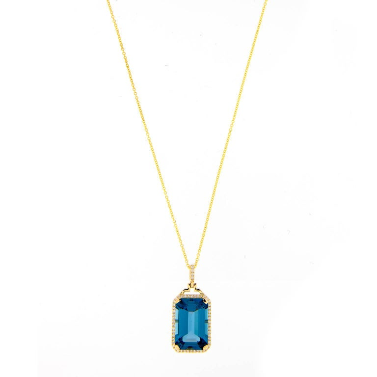 "Goshwara ""Gossip"" Blue Topaz Diamond Pedant Necklace For Sale"