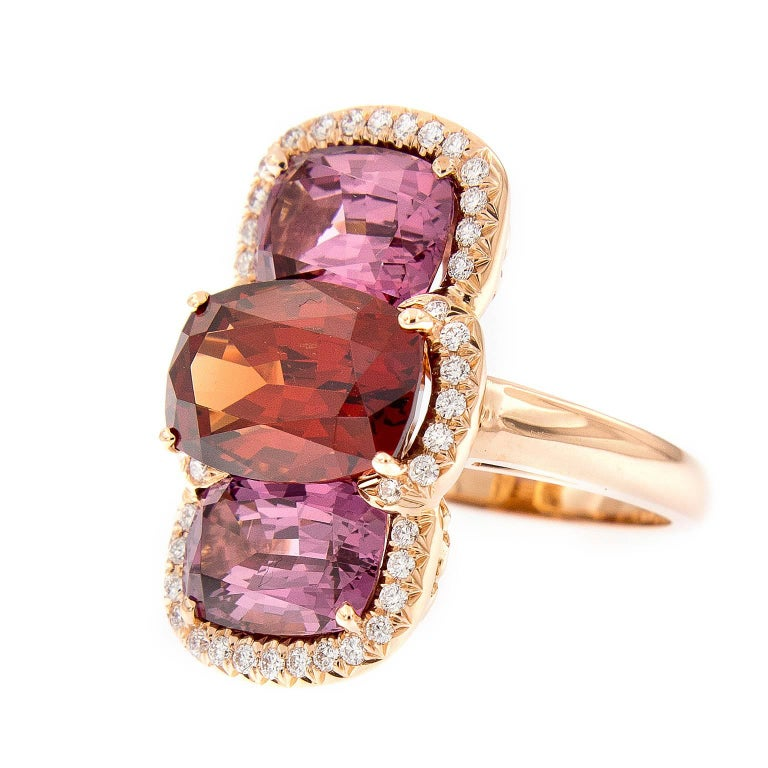 Malaya Garnet and Lindi Garnet Rose Gold Cocktail Ring For Sale