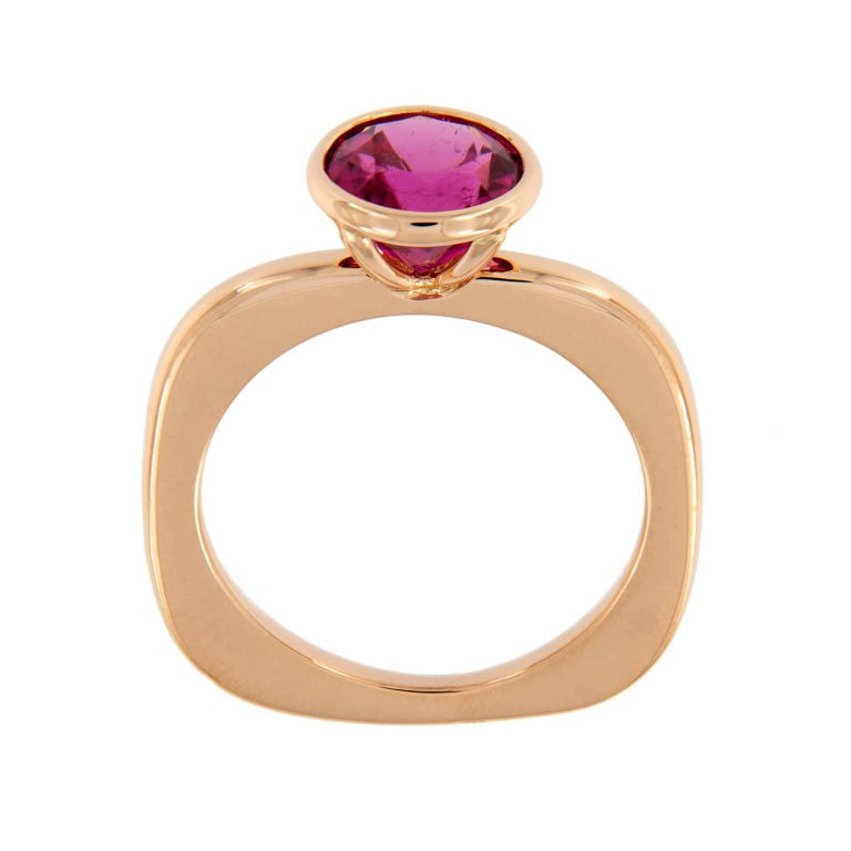 Contemporary Goshwara Rubelite Gossip Stackable Gold Ring For Sale